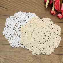 2 Colors Round Table Mat Placemat Hand Crocheted Lace Doilies Home Dining Table Decorative Textiles Fabrics Cotton Yarn Coasters