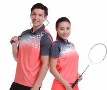 Running Sportswear Quick Dry breathable badminton shirt,Women/Men table tennis clothes game short sleeve Orange POLO T Shirts(China)