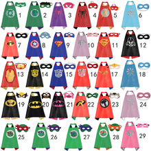 New kids Party cosplay Superman capes - 1 cape + 1 mask Double sides Satin fabric Superhero Batman Super hero cape and mask
