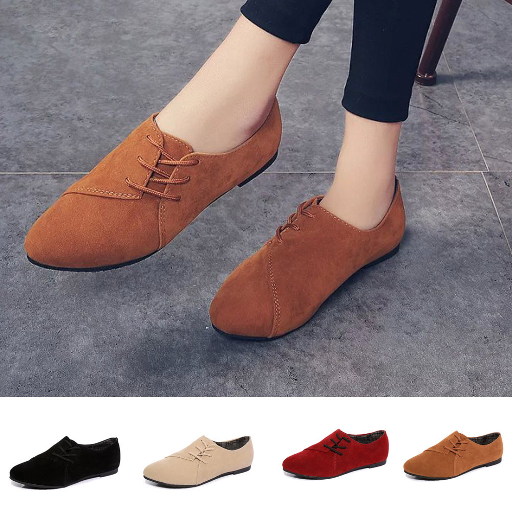 KLV Designer Women Lace Up Flat Shoes Head Shoes Low To Help Flat Bottom Casual Shoes Sale Top Spring Casual Leather Flat Shoes<br><br>Aliexpress