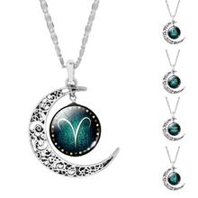 Vintage Jewelry Silver Color  with Zodiac Glass Cabochon Choker Crescent Moon Pendant Long Necklace for Women Christmas Gift