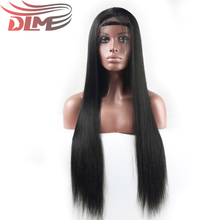 DLME Synthetic Silky Straight Heat Resistant Fiber Black 16-26 inches Long Lace Front Wigs for Balck Women(China)