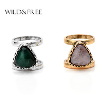 1pcs Women Vintage Big Green Pink Heart Finger Ring Set for Women Jewelry Zinc Alloy Wide Hollow Out Fashion Midi Ring Jewelry