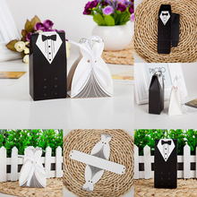 Groom Tuxedo Dress Gown Candy Box Bride and Groom Happiness European Beautiful Holders Wedding Decoration