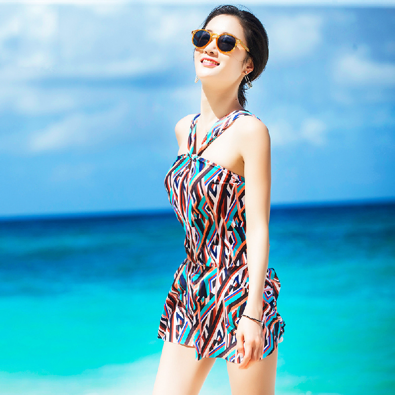 Verzy 2017 One-piece Female Skirted Swimsuit Students Geometric Bathing Suit Young Girl Slim Padded Chest Summer Dress Swimwear<br>