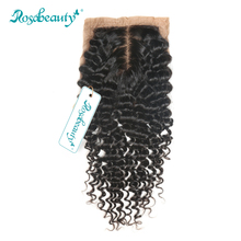 "Rosabeauty Brazilian Curly Remy Hair Deep Wave Silk Base Closure 100% Human Hair 4""*3.5"" Siwss Lace with Bleached Knots"