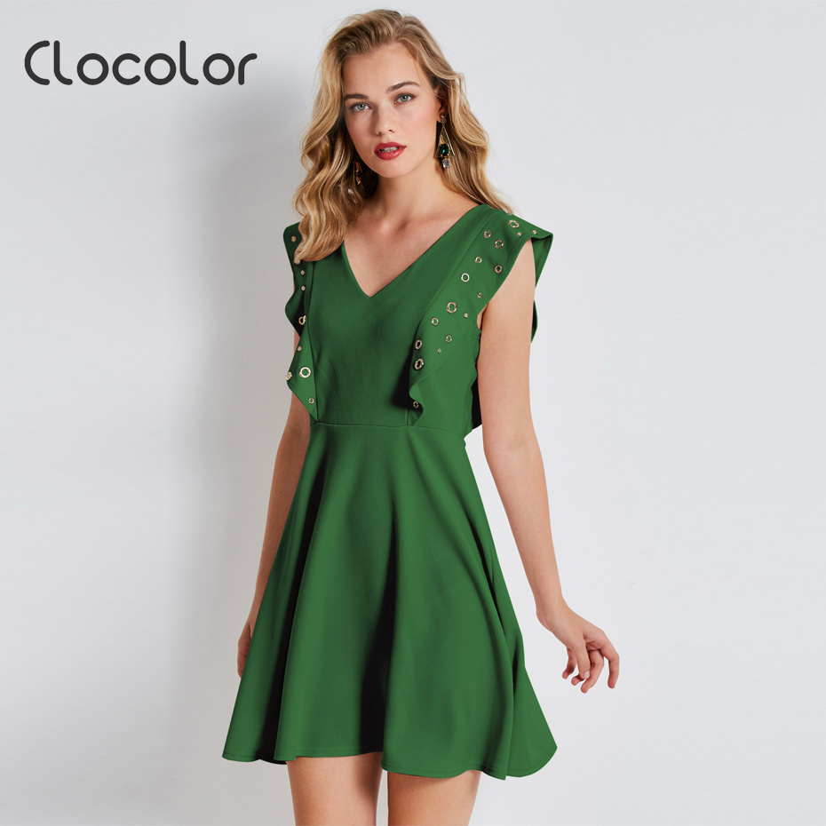 Clocolor sexy line dress ruffles V neck green pullovers falbala pleated 2017 new fashion big size causal plain female dresses