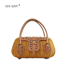 LIKE RAIN 2017 New  Luxury Handbags Women Bags Rivet Designer Handwork Bamboo Handbag Women Travel Tote Cane Beach Bags STB02