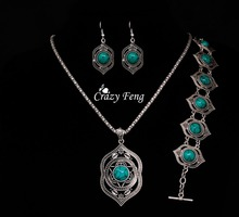 Free shipping Necklace earrings bracelet Wholesale price Tibetan silver Green stone jewelry sets gift african beads jewelry set