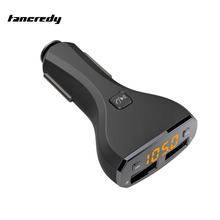 Car Bluetooth FM Transmitter FM Radio Modulator Bluetooth Handsfree Car Kit Voltage Monitor Dual USB Car Charger Music Player(China)