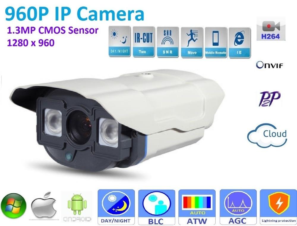 New type1280*960P H.264 1.3 Megapixel HD ONVIF 2.0 IP Camera P2P Warterproof outdoor  IR-CUT Night Vision Network bullet Camera<br>