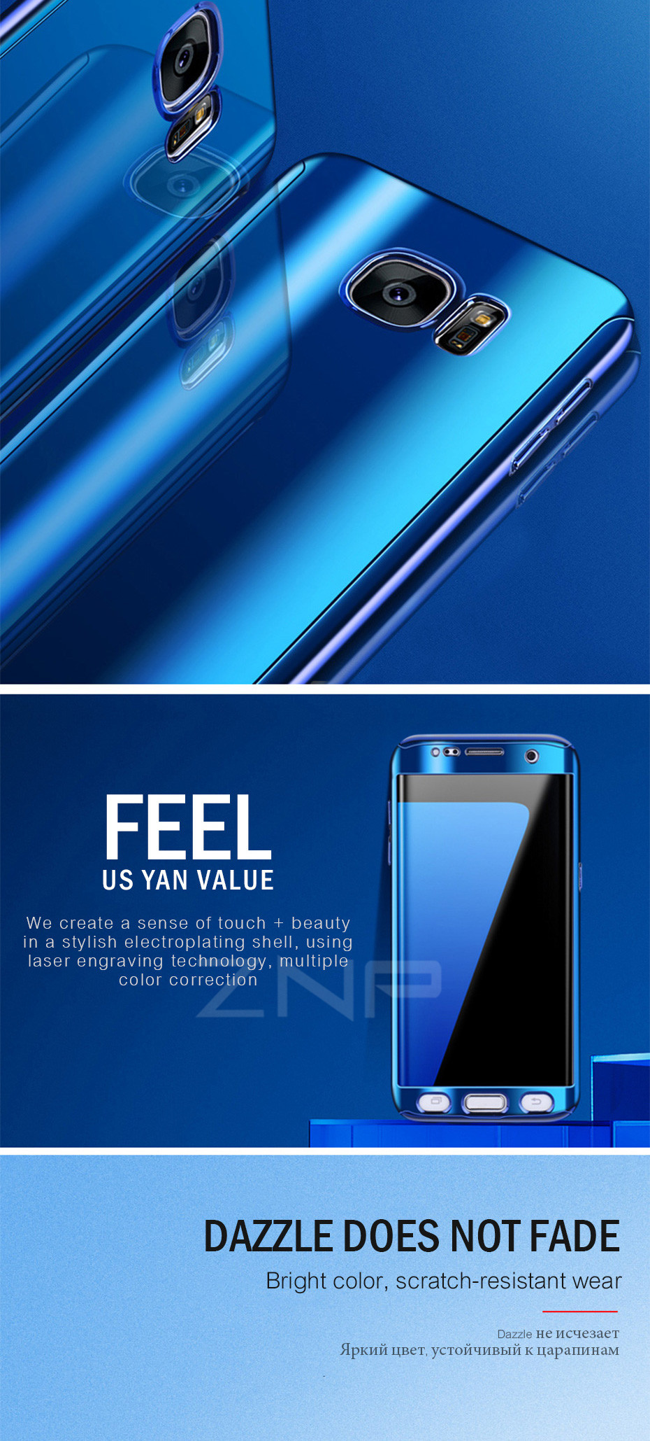 ZNP Luxury 360 Full Phone Case For Samsung Galaxy S9 S8 Plus Note 8 Bling Mirror Cover Cases For Samsung S7 Edge S9 S8 S7 Case 3
