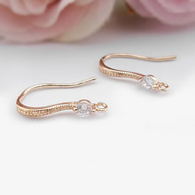 (31618)6PCS Height 17MM 24K Champagne Gold Color Plated Brass with Zircon Earrings Hook High Quality Diy Jewelry Accessories