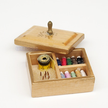 Odoria 1:12 Miniature Sewing Kit Box with Threaded Spools Tape Dollhouse Furniture Accessories Livingroom Bedroom Sewing Room