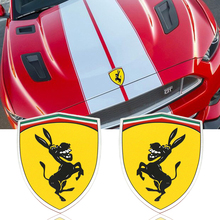 3D Aluminum Donkey Logo Car Window Body Sticker Emblem Decal Steering wheel sticker Accessories Fit For Ferrari Ford Mustang(China)