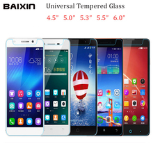 Baixin 9H Universal Tempered Glass Screen Protector for All Models For Huawei Lenovo Xiaomi 4.0 4.5 4.7 5.0 5.3 5.5 6.0 inch