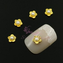100pcs/lot 5MM Plum Flower False Pearl Beads Gold Plated Alloy Studs Metal 3D Crafts Phone Case Nail Art Charms Manicure Decor(China)