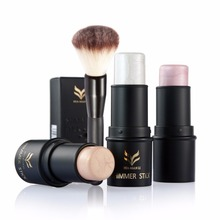 1Pcs HUAMIANLI Face Makeup Highlighter Shimmer Stick Contour Waterproof Powder Highlighting Bronzer With Brush Set #229205