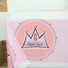 birthday home decor plastic tablecover/map princess girls 1st birthday crown printed party table cloth baby shower favors 1pc