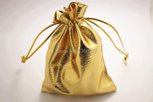 100pcs/lot 9x12cm Shiny Gold Satin Gift Bags organza Candy Jewelry Bag Packing With Drawstring