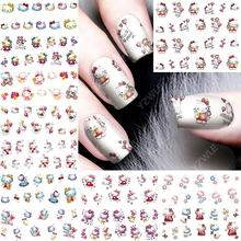 12pcs/lot Hello Kitty nail art stickers nails decorations accessoires beauty manicure supplies tools cute cat designs A781792(China)