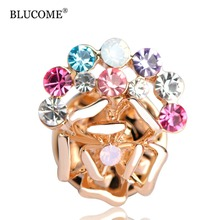 Blucome Colorful Crystal Rose Flower Brooches Gold-Color Small Size Collar Chapter Corsage Women Girls Gift Hijab Pins Jewelry
