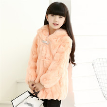 Real Rabbit Fur Coat Children Baby Girls Autumn Winter NaturaThick Warm Long Coat Solid Girls Outerwear Jackets Cothing C#11(China)