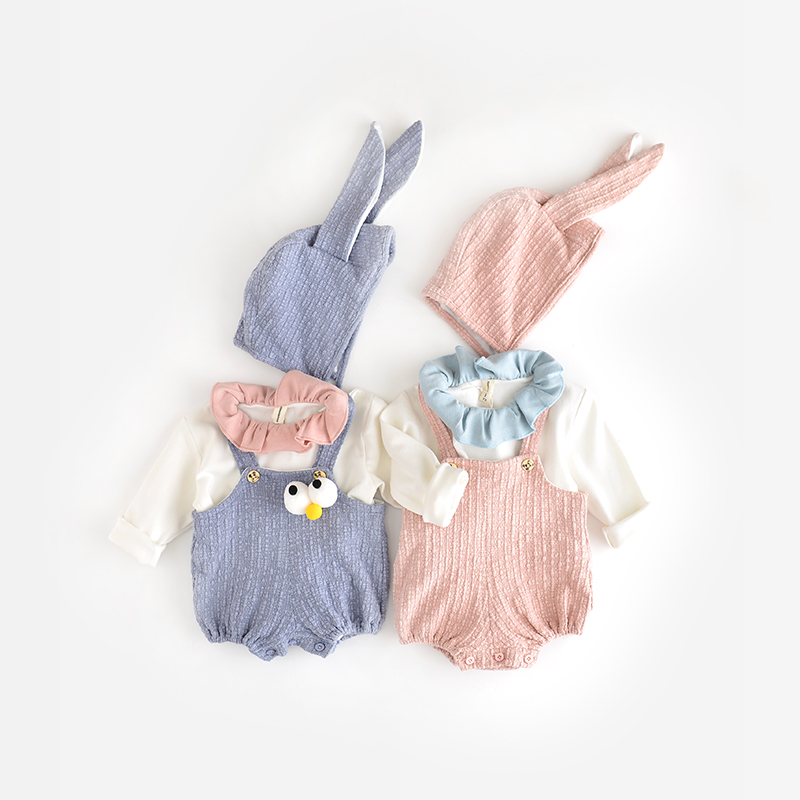 Newborn Baby Boy Kids Bodysuit Clothes sleeveless strap Nice Toddler Girls Bodysuits Clothes + Rabbit hat 2pcs Infant Outfits<br><br>Aliexpress