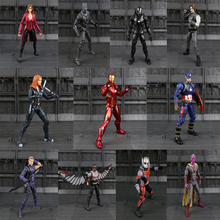 17cm avengers Figma Captain America Iron Man Black Widow Scarlet Witch Hawkeye ant man PVC action Figures Collection model Toys