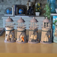 New Hot-selling ZAKA Handmade Mediterranean-style lighthouse wrought iron holiday Candlestick Candle holder Home decoration