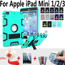 For Apple iPad Mini 2 Mini 3 7.9 inch Cover Case Silicon Kids Safe Stand Case Cover + Screen Protector Film Stylus Pen Gifts(China)