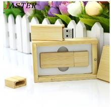 VBNM Customized LOGO Wooden bamboo with BOX usb flash drive novetly personal present Memory stick pen drive pendrive 8GB 16GB(China)