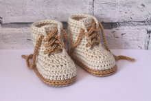 "Crochet baby booties, Baby Boys Booty ""Combat"" Boots, Beige Crochet Baby Booties, street shoes, Size 0-12 months(China)"