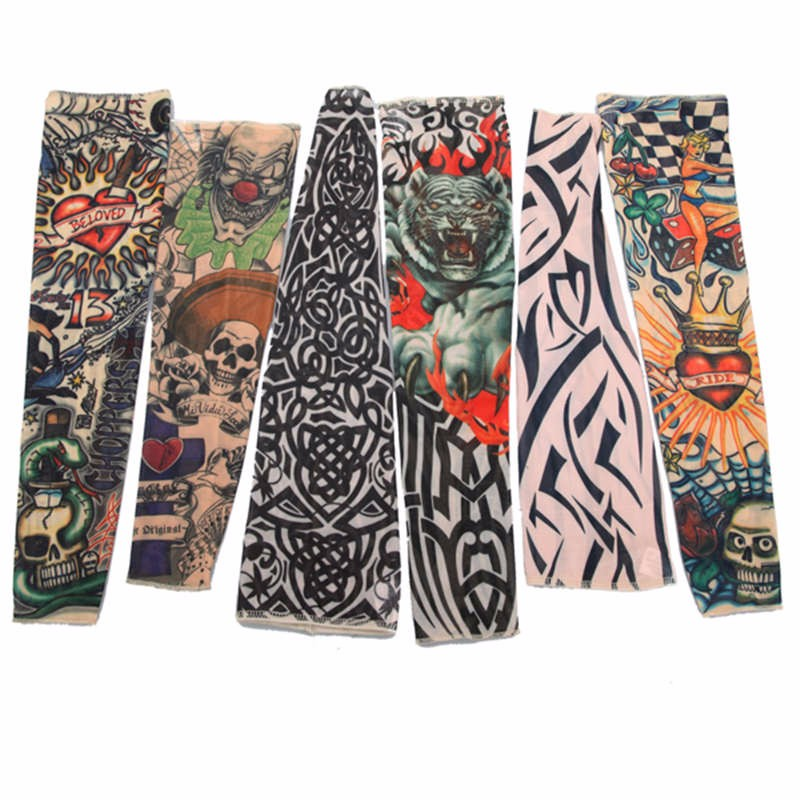 New 1Pcs Fake Tattoo Elastic Arm Sleeve Arms Stockings Sun Protective Temporary Tatoos Sport Skins Men Women High Quality(China (Mainland))