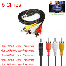 HD AV Cable 1 Year CCcams 5 Clines for Satellite Receiver DVB-S2 via USB wifi(China)