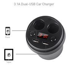 Universal 3.1A Dual USB Charger Socket Car Cigarette Lighter Dual Cup Holder Adapter Power Supply For iPhone 5 6 7 Samsung S6 7