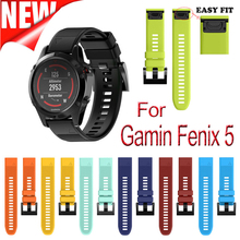 22mm Width Outdoor Sport watch band Easy Fit Silicone Strap Watchband for Garmin Band, Silicone Band for Garmin Fenix 5