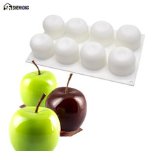 SHENHONG 8 Holes 3D Apple Cake Moulds Silicone Mold Mousse Art Pan For Ice Creams Chocolates Pudding Pastry Dessert Baking Tools(China)