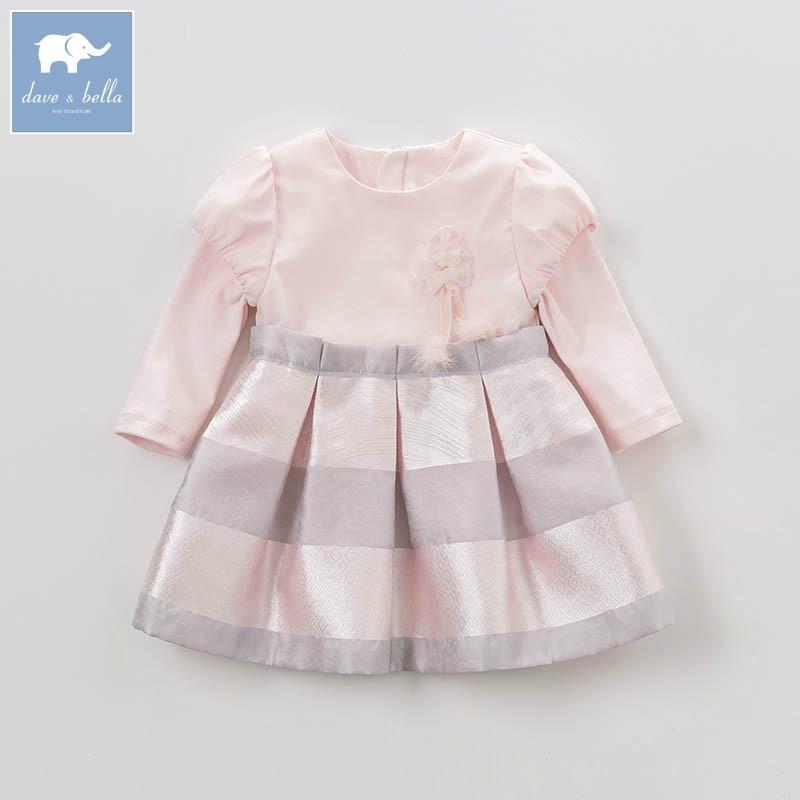 DB4079 dave bella spring infant baby girls fashion pink dress kids birthday wedding party dress toddler children clothes <br>