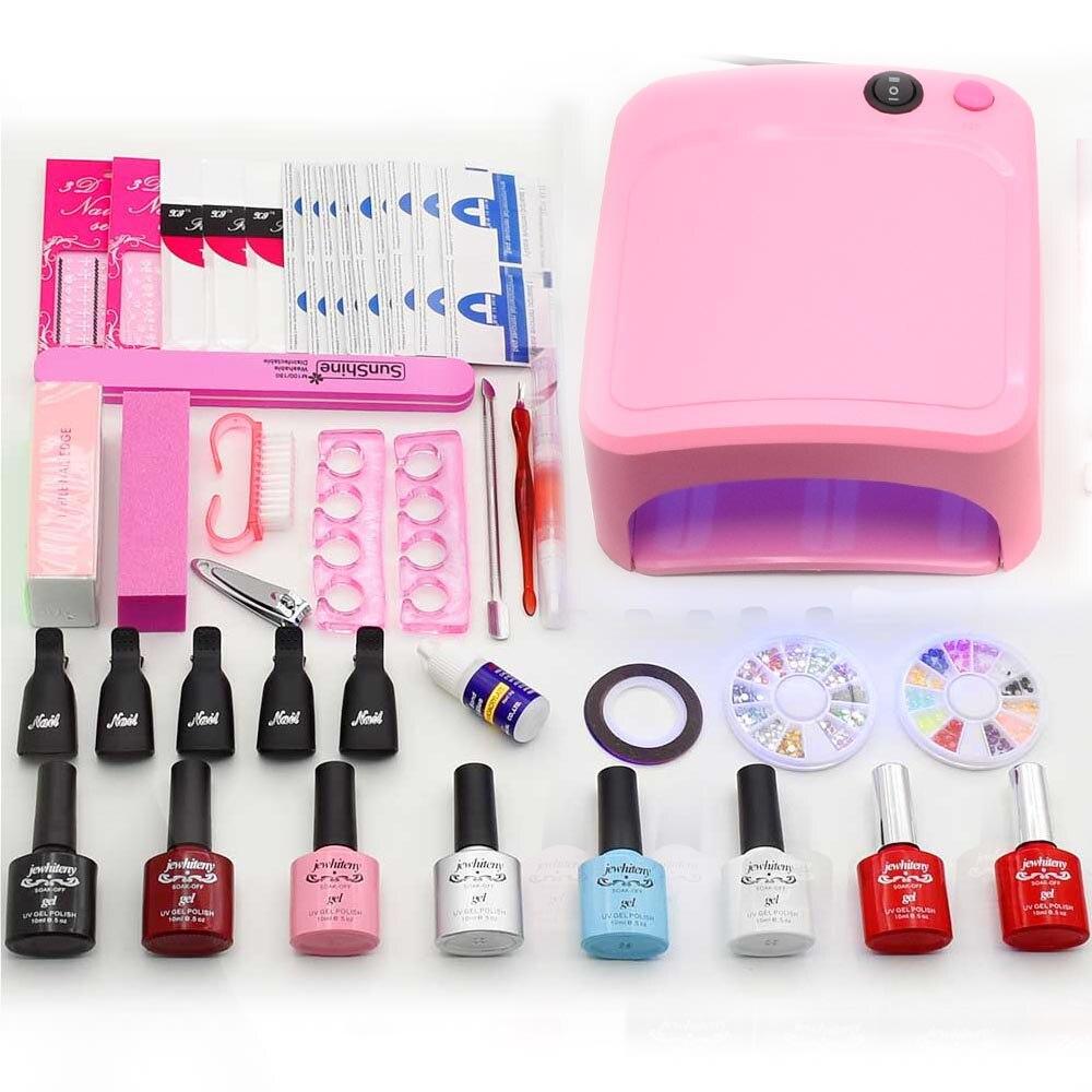 Nail Art Manicure Tools36W UV Lamp nail dryer 6 Color 10ml base top coat soak off Gel varnish nail polish nail set kits<br>