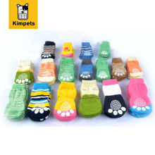 Kimpets 4pcs Puppy Small Dog Shoes Cute Cartoon Warm Soft Cotton Knits Sock Anti Slip Skid Socks Bottom Promotional High Quality