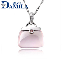 Wholesale New Bridal Jewelry 925 Sterling Silver Rose Opal Ross Quartz Stone Pendant jewelry high-quality