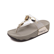 SIKETU Casual Women Slippers Thong diamond Flip Flops Summer Beach Shoes Woman Rhinestone Comfortable Soft Thick Bottom Heels
