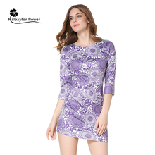 2016 Women's Summer Clothing Vintage O-Neck Sheath Dress Printed Mini Dress Casual Party Dress Retro Fashion Vestidos De Festa