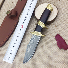 Damascus Hunting Knife High Grade Gold Wood Damascus Knife Damascus Steel Fixed Collections Outdoor Tool Collection