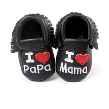 First Walkers Baby Kids Casual PU Moccasins Pre Walker I LOVE PAPA Anti-Slip Walkers Girl Bow Knots Shoes 0-18M(China)