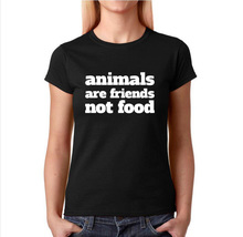 Animals are friends not food t shirt Women Vegan Tshirt Harajuku Slogan T-shirt Casual Tops Fashion Tee Shirt Femme(China)