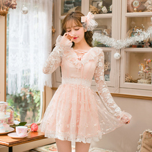 Candy rain Women Clothing Slim Lace Dress Butterfly Sleeve Chiffon Princess Dress Spring Drees European Elegant Cute C22AB7022