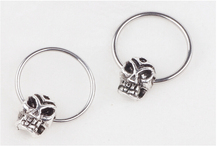 316L surgical stainless Steel skull nipple bar Ring Body Jewelry men Tragus Earrings nose septum ring 16G nipple piercing 2pcs