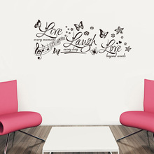 & Butterfly Flowers Live Laugh Love Quotes Music Wall Stickers Bedroom Kids Room Home Decor 3D Vinyl Wall Decal Waterproof Mural